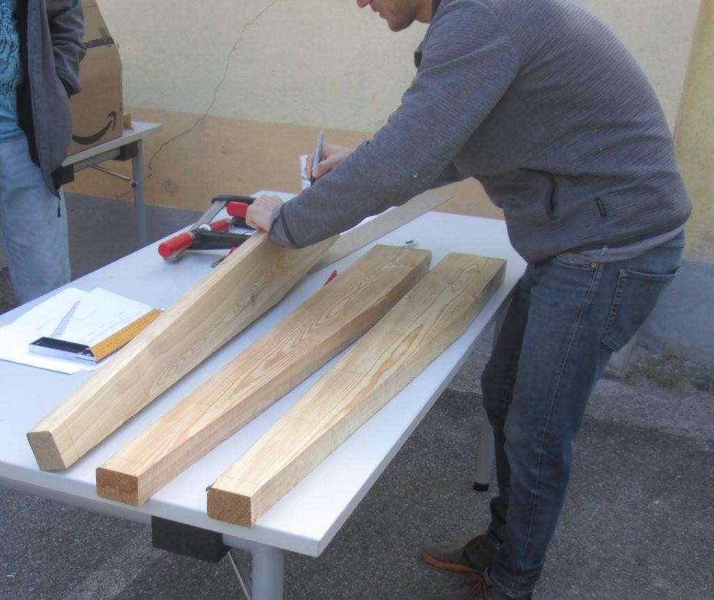 Windrad JBZ Wr. Neustadt: Rohlinge der Rotorblätter aus Holz